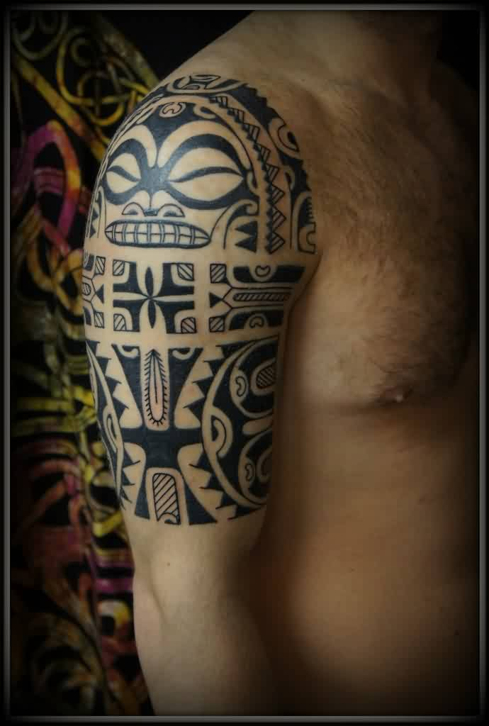 Half Sleeve Tribal Polynesian Tattoo With Mask