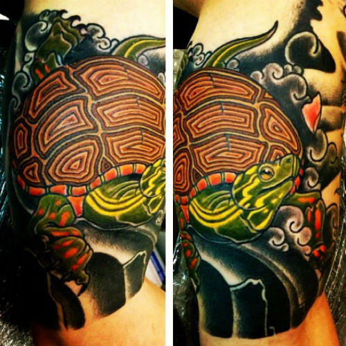 Half Sleeve Turtle And Waves Tattoos