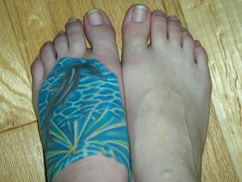 Hammerhead Shark And Rays Tattoos On Left Foot
