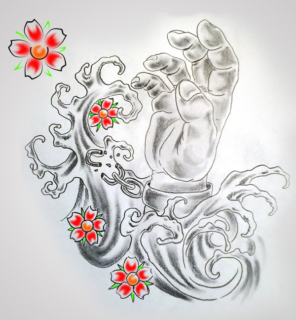 Hand And Waves Tattoo Design