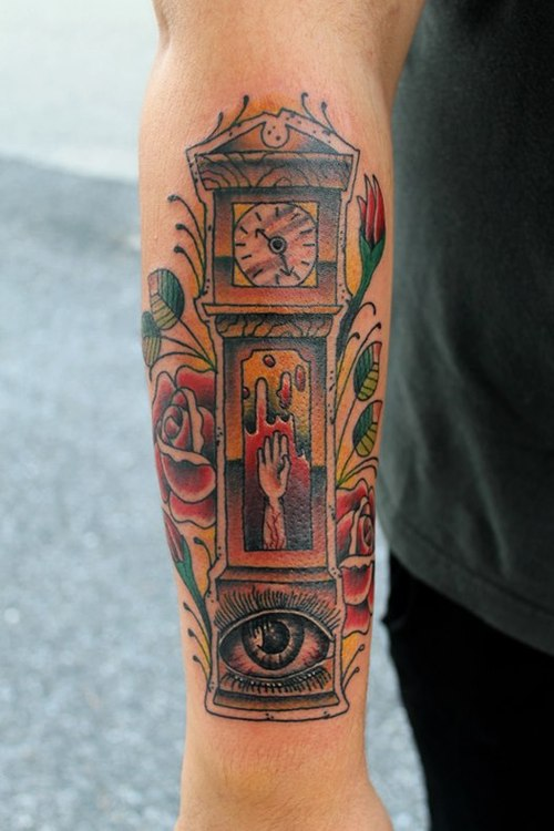Hand Grandfather Clock Tattoo With Roses On Arm