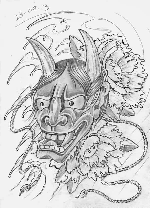 Hannya Mask And Wave Tattoo Sketch