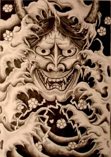 Hannya Mask In Waves Tattoo Print