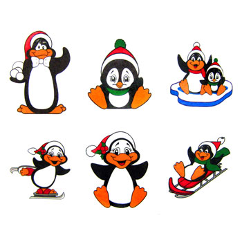 Happy Cute Penguin Tattoos Set
