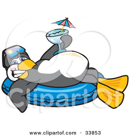 Happy Penguin Mascot Cartoon Character Relaxing  On An Inner Tube Holding A Cocktail While On Vacation Tattoo Design