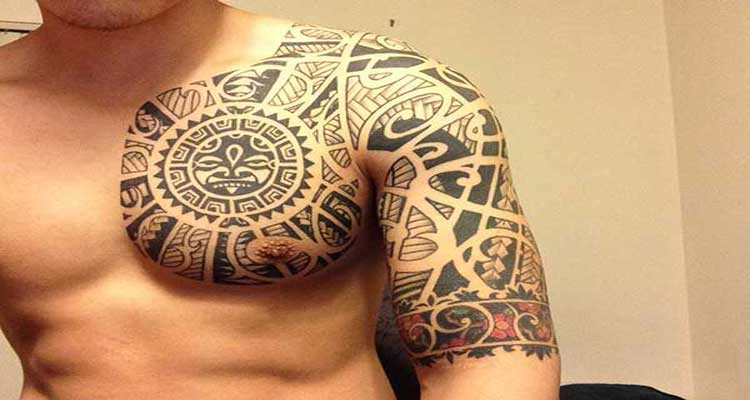 Hawaiian And Polynesian Tattoos On Chest And Half Sleeve
