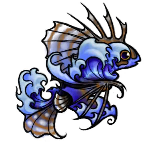 Hawaiian Lionfish And Waves Tattoo Design