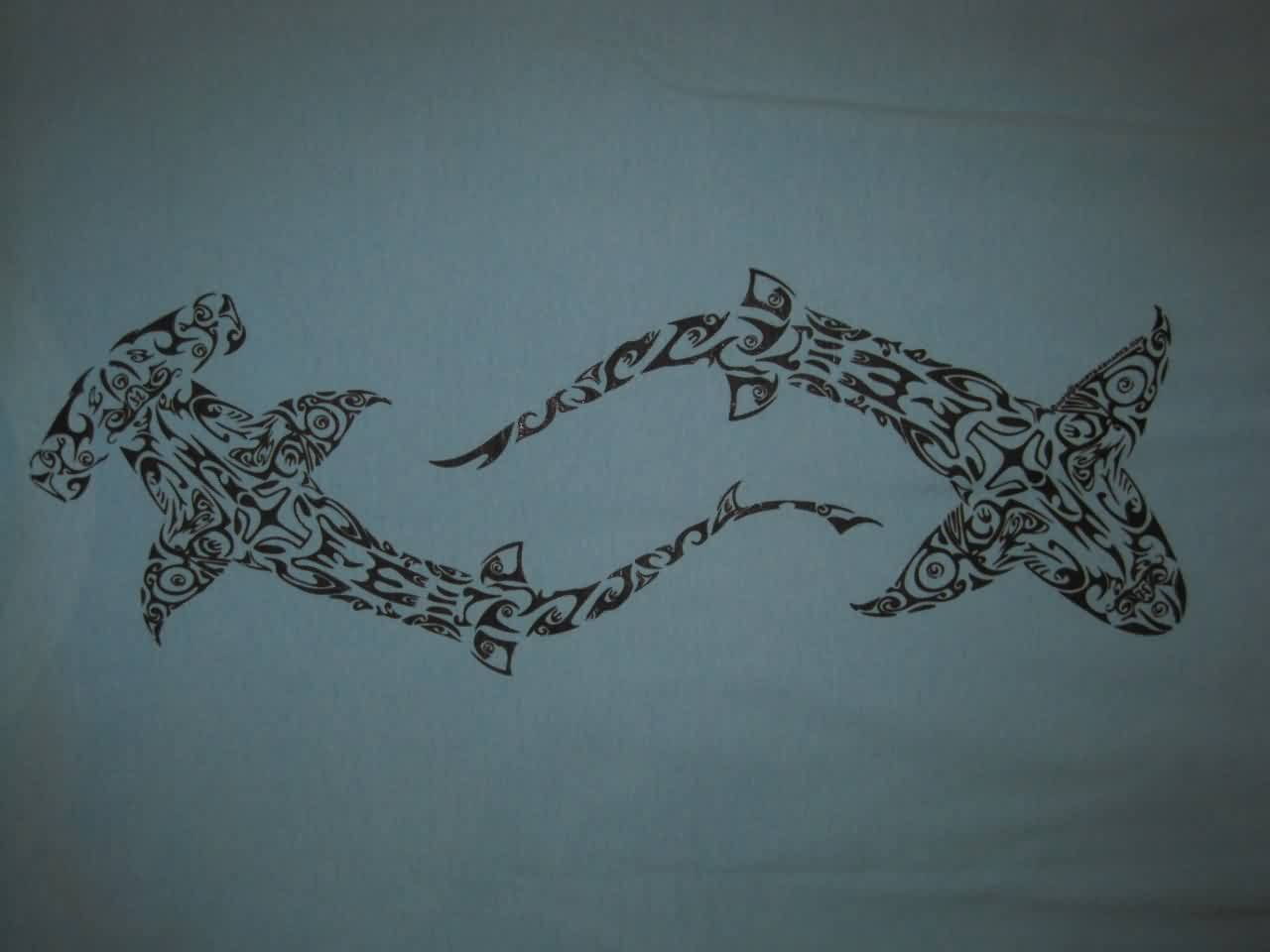 Hawaiian Tribal Sharks Tattoo Designs