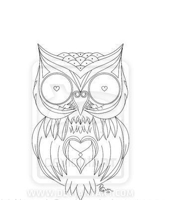 Heart Owl Tattoo Sample