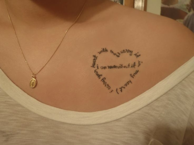 Heart Quote Tattoo On Collarbone