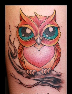 Heart Stomach Owl On Branch Tattoo