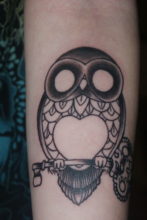 Heart Stomach Owl On Key Tattoo