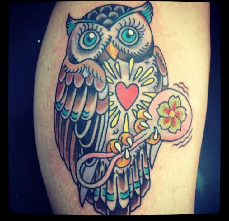 Heart Stomach Owl With Key Tattoo