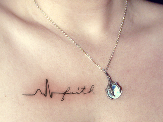 Heartbeat With Faith Tattoo On Collarbone