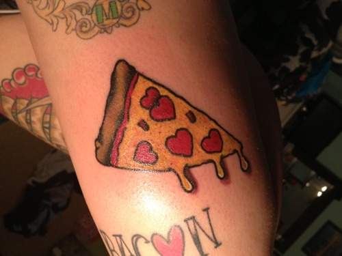 Hearts Pizza Tattoo