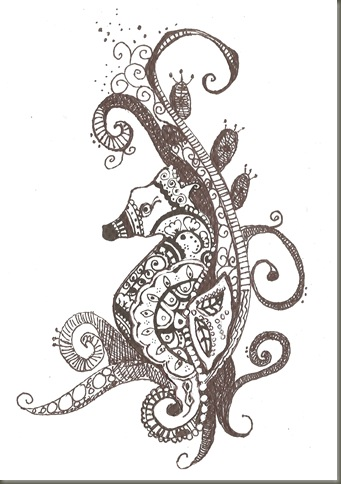 Henna Design For Seahorse Tattoo