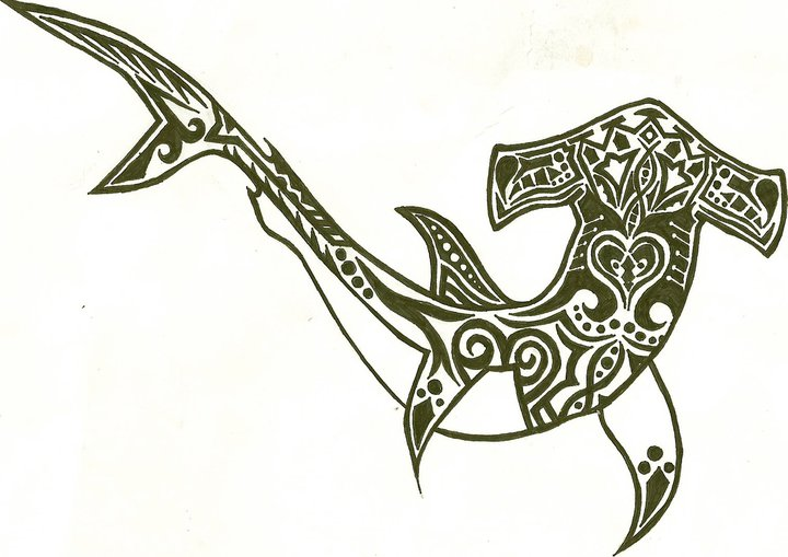 Henna Tribal Hammerhead Shark Tattoo Design