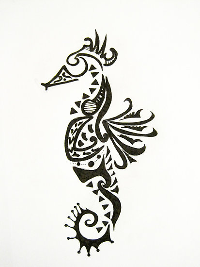 Henna Tribal Seahorse Tattoo Flash