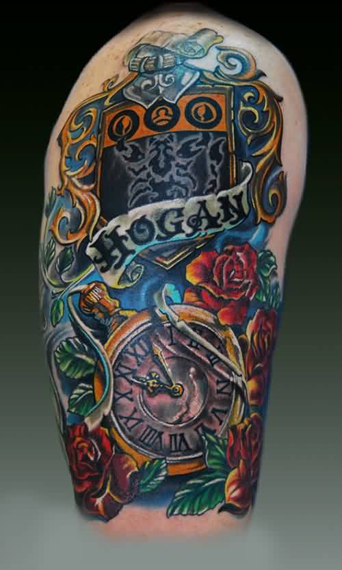 Hogan Clock And Roses Tattoos On Half Sleeve