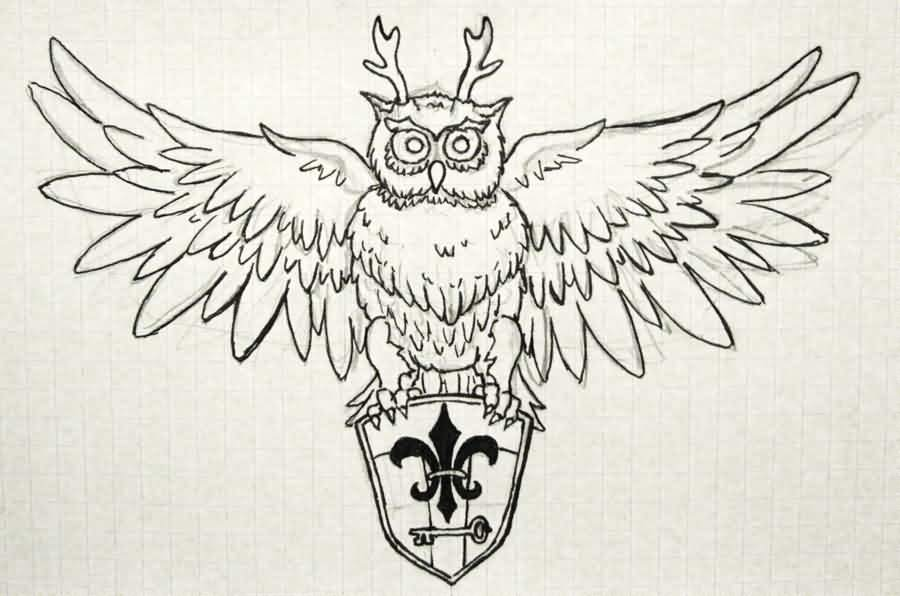 Horned Owl And Shield Tattoo Design