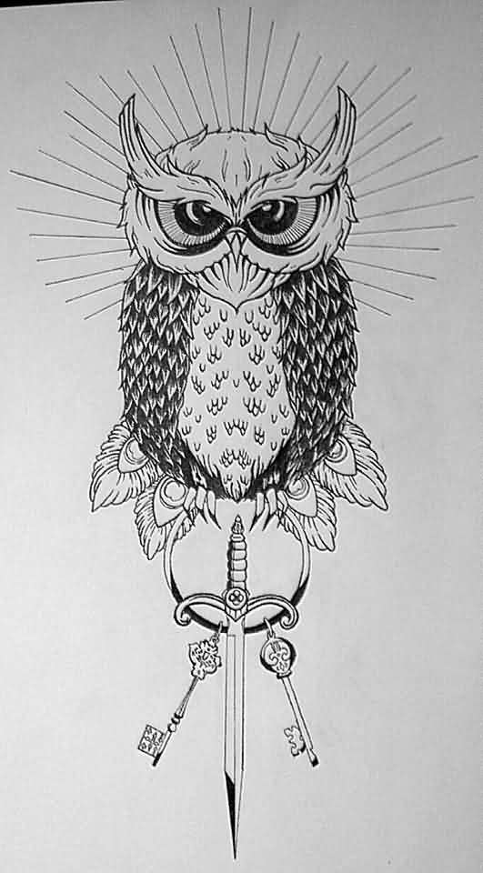 Horned Owl Sword And Key Tattoo Designs