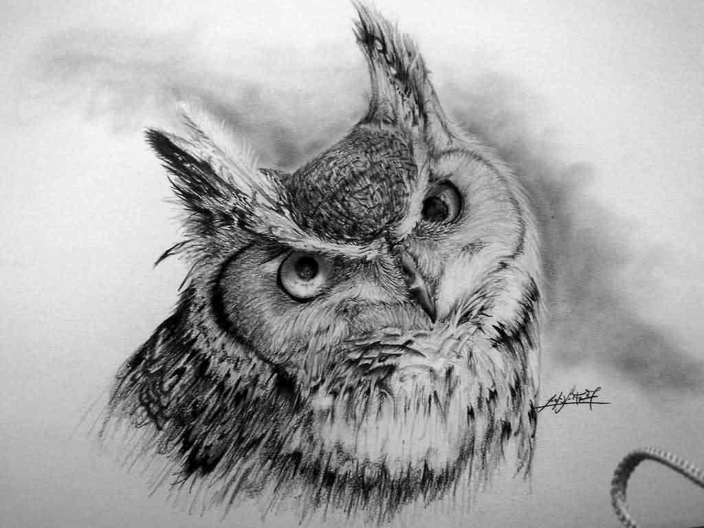 Horned Owl Tattoo Design