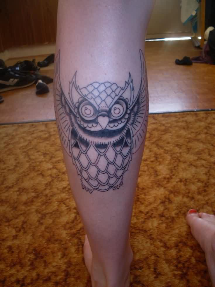 Horned Owl Tattoo On Leg