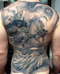 Horse Warrior Back Piece Tattoo For Men