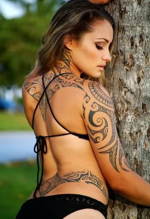 Hot Babe With Polynesian Tribal Tattoos
