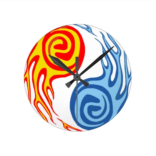 Hot Cold Fire Water Yin Yang Clock Tattoo Model