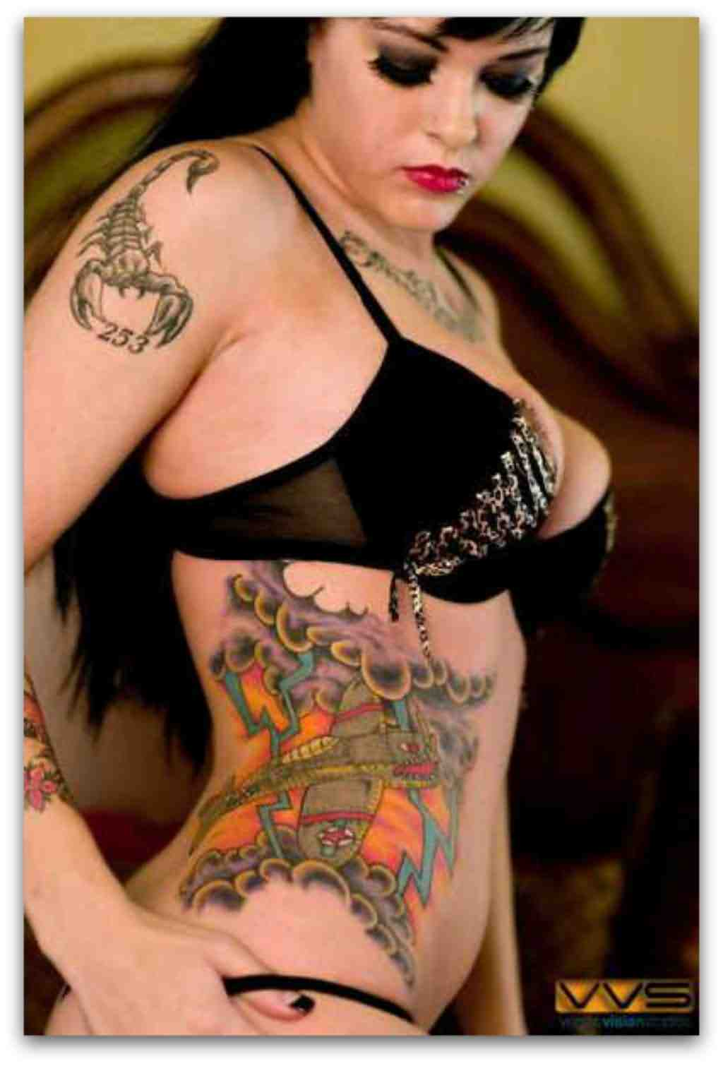Hot Lady With Color 3D Tattoos On Right Side