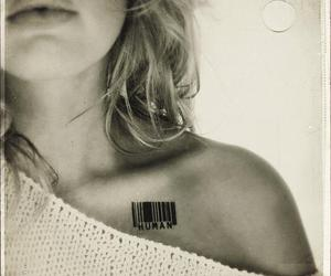 Human Barcode Tattoo On Collarbone