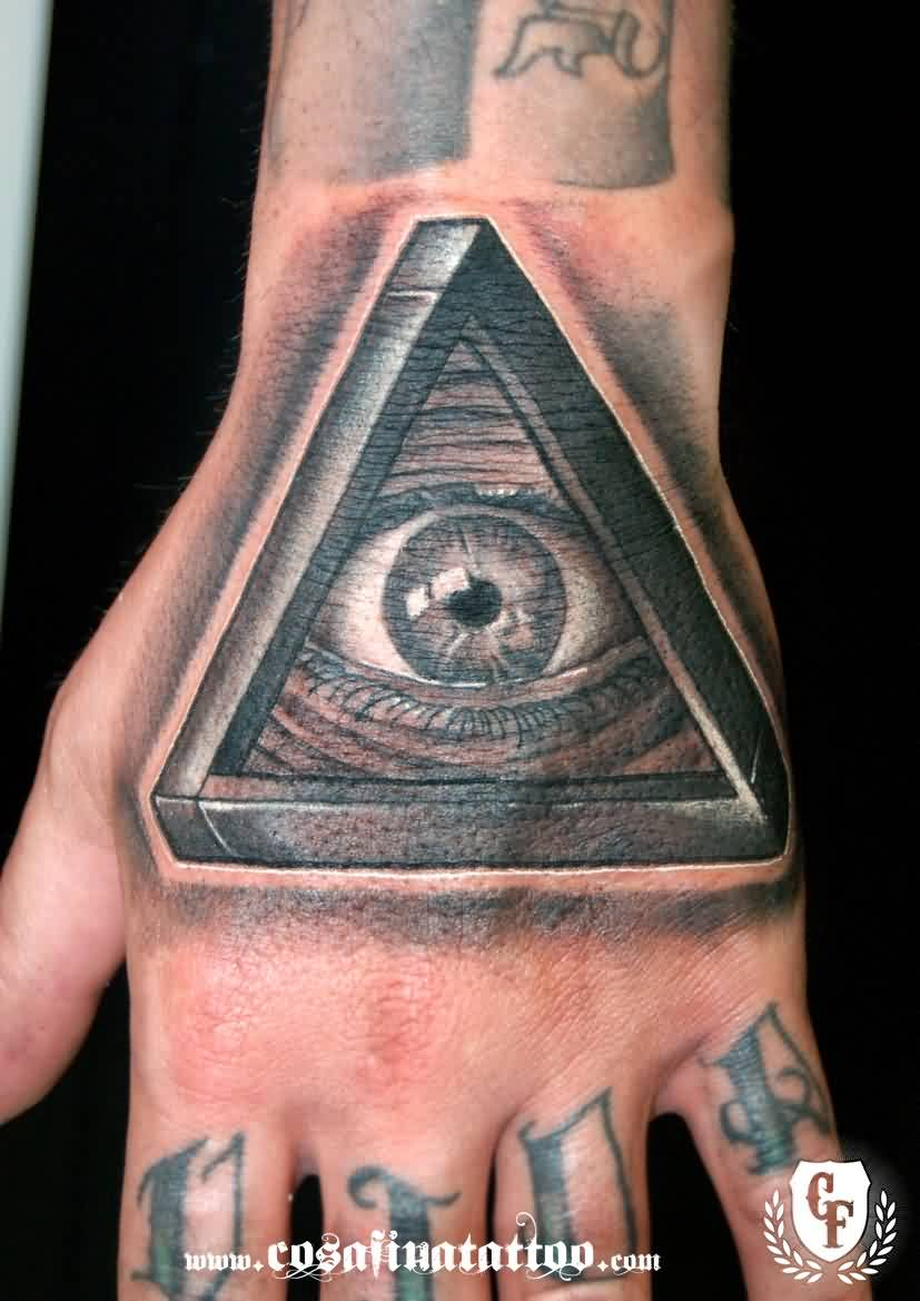Illuminati Eye Triangle Tattoo On The Hand