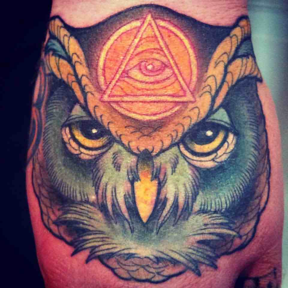 Illuminati Forehead Owl Tattoo