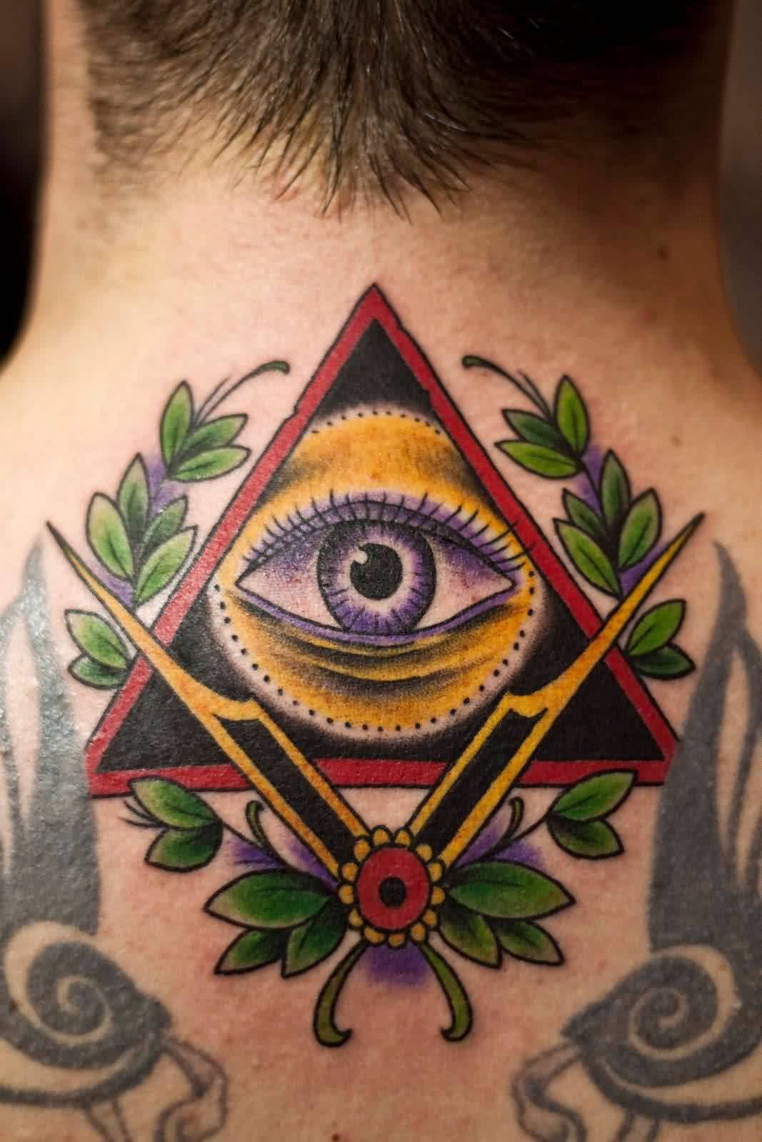 Illuminati Triangle Tattoo On Back Neck