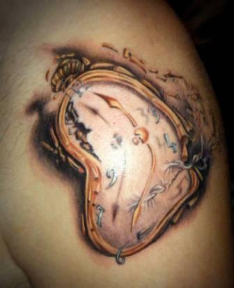 Impressive 3D Dali Clock Tattoo