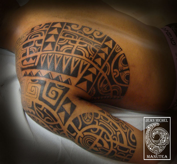 Impressive Black Polynesian Tattoo On Half Sleeve