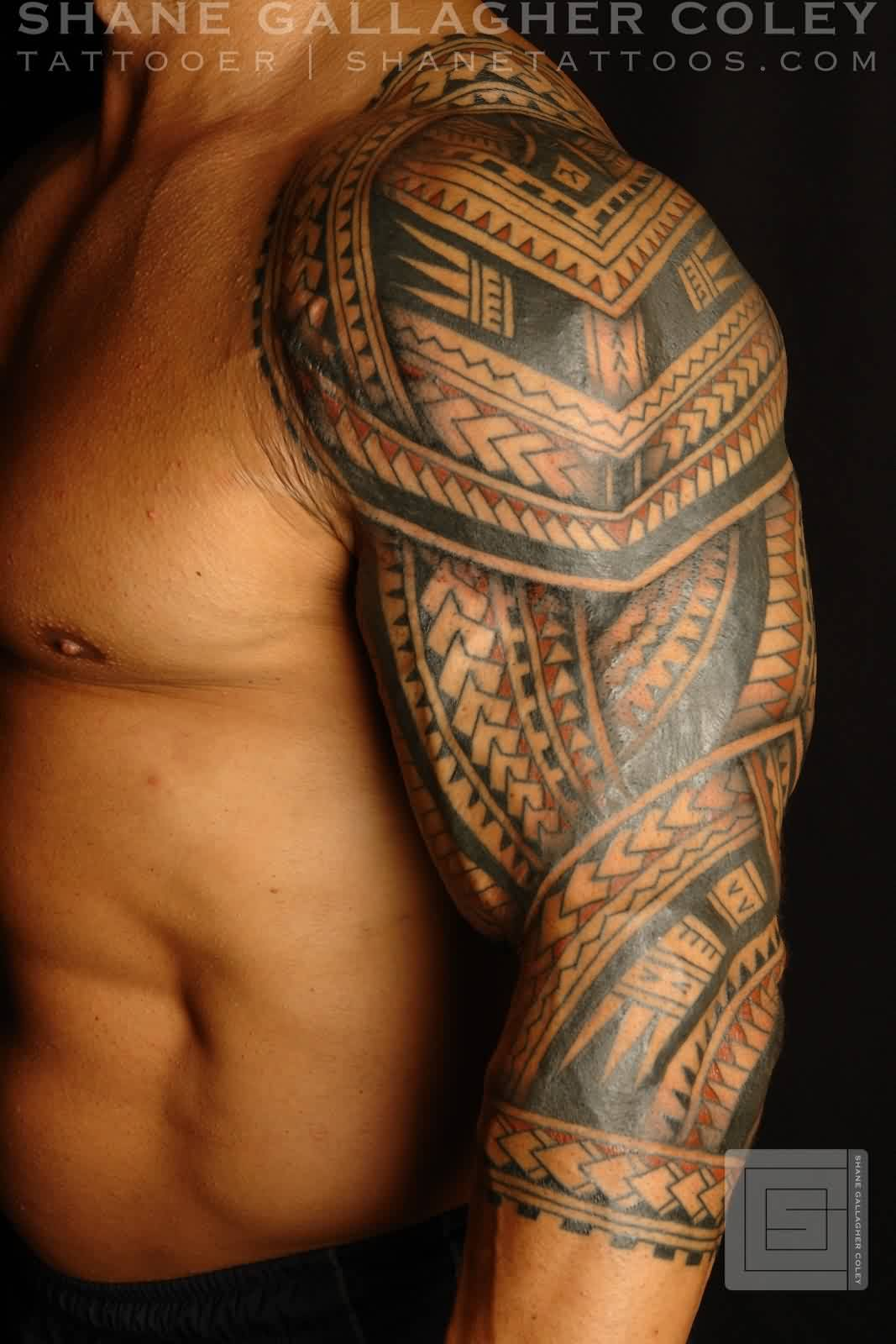 Impressive Black Polynesian Tattoos On Left Sleeve