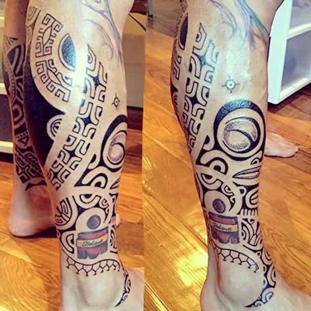 Impressive Black Polynesian Tattoos On Leg