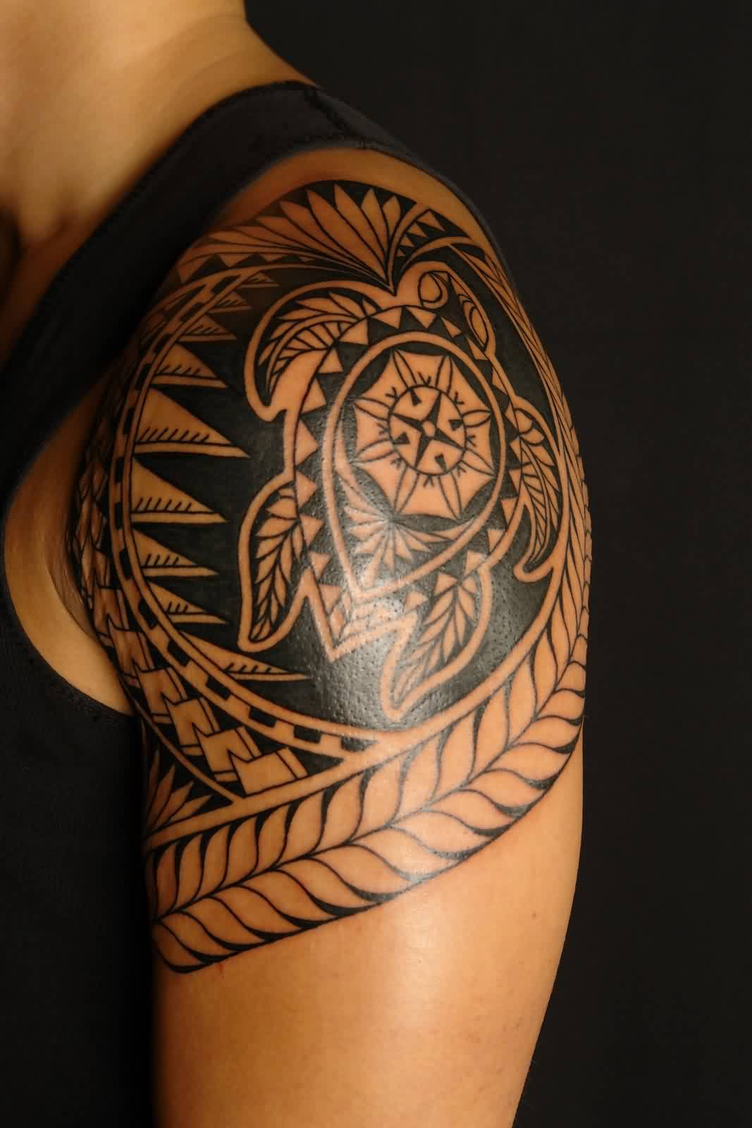 Impressive Black Polynesian Turtle Tattoo On Shoulder