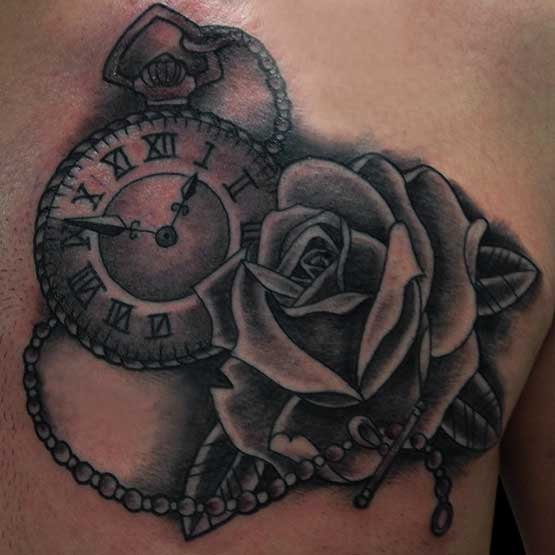 Impressive Clock Tattoo With Rose