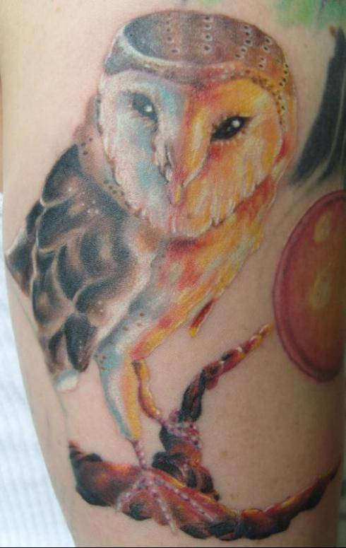 Impressive Color Owl Tattoo