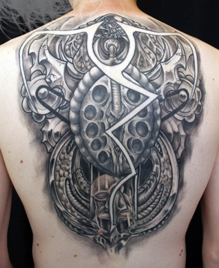 Impressive Grey 3D Biomechanical Tattoos On Backbody