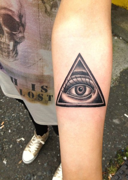 Impressive Human Eye In Triangle Tattoo On Forearm