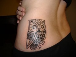 Impressive Owl Tattoo On Waist