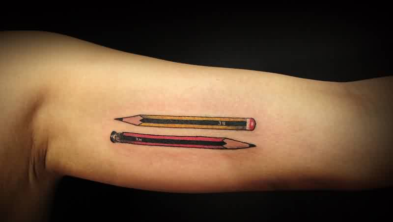 Impressive Pencils Tattoos On Inner Arm