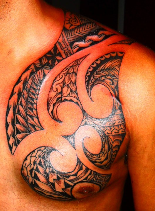Impressive Polynesian Tattoo On Chest