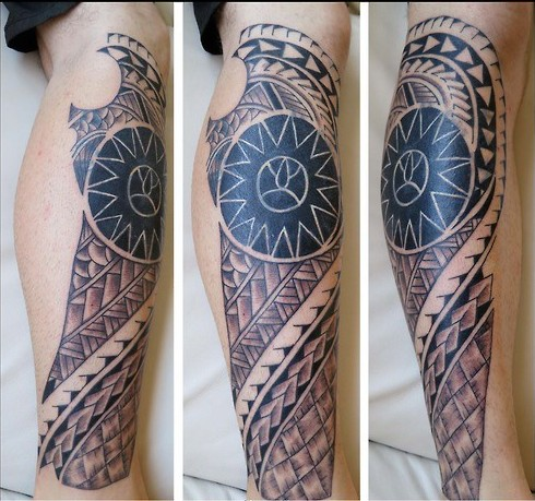 Impressive Polynesian Tattoos On Leg