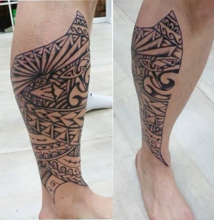 Impressive Polynesian Tattoos On Leg For Guys