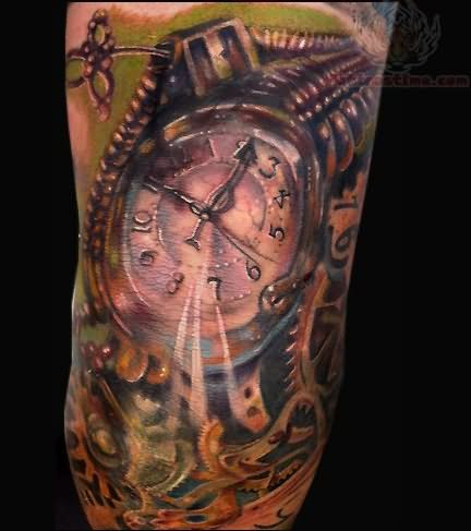 Realistic Biomechanical Clock Tattoo